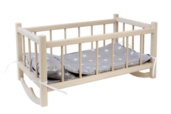 Drewniana kołyska dla lalek z pościelą