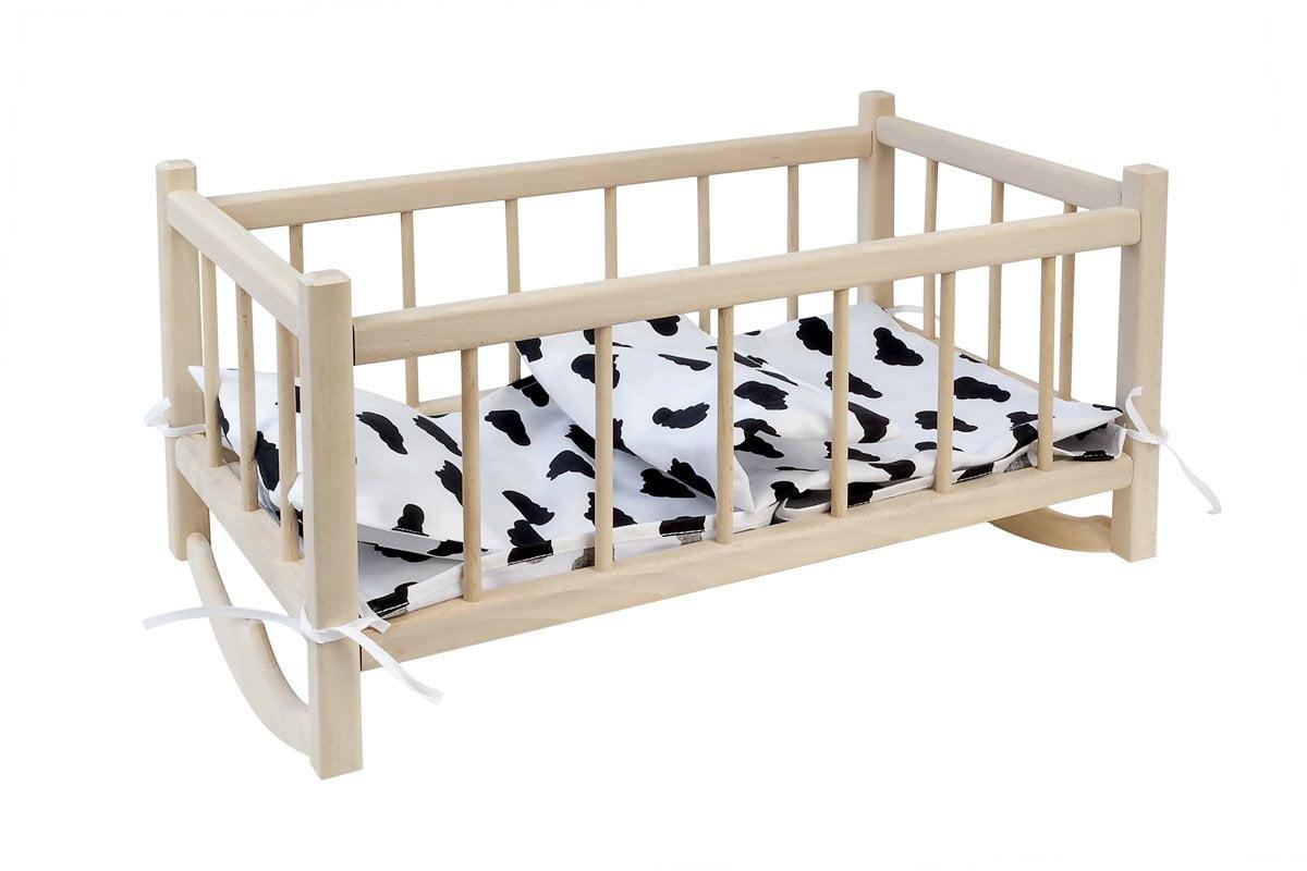 Drewniana kołyska dla lalek zpościelą