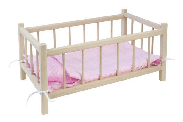 Łóżeczko dla lalek z pościelą różową w białe grochy