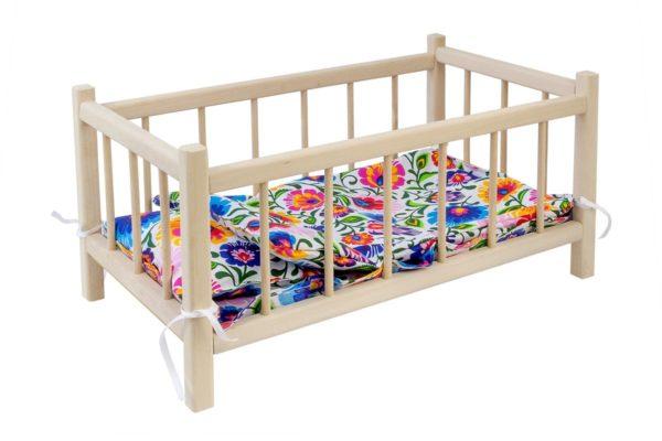 Łóżeczko dla lalek z pościelą we wzory łowickie