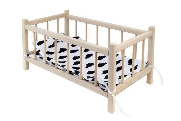 Łóżeczko dla lalek z pościelą białą w czarne chmurki
