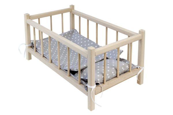 Łóżeczko dla lalek z pościelą szarą w białe grochy
