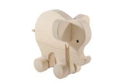 Drewniany słoń na kółkach