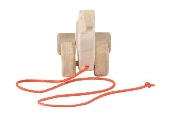 Drewniana foka na kółkach