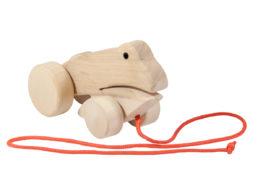 Drewniana żabka na kółkach