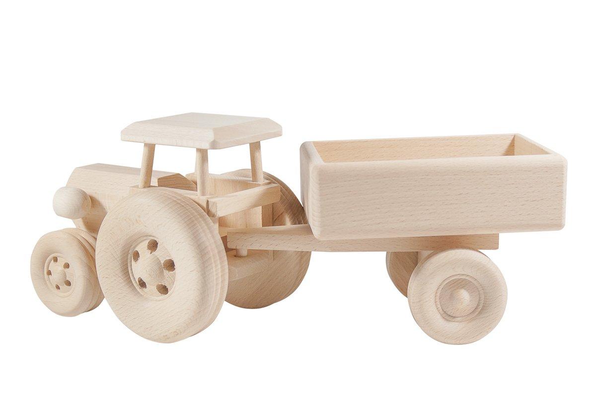 Drewniany traktor zprzyczepą