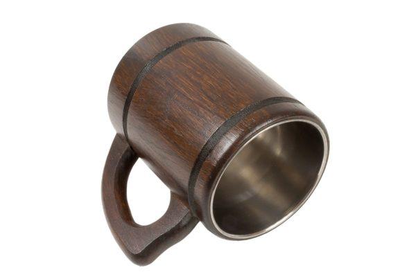 Kufel drewniany z wkładem ze stali nierdzewnej