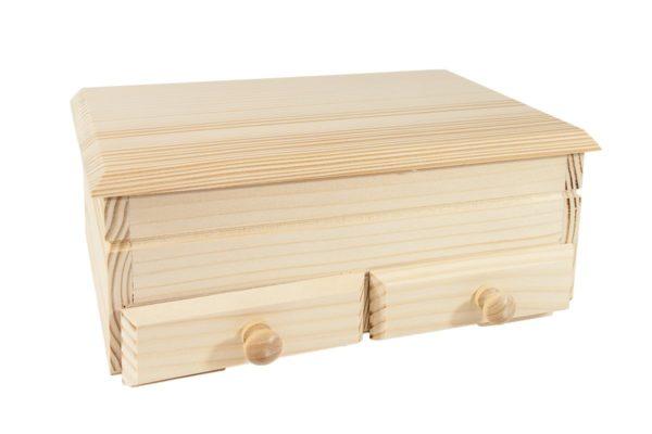 Drewniany kuferek z szufladami