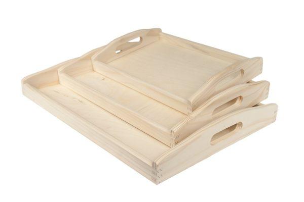 Zestaw 3 drewnianych tacek