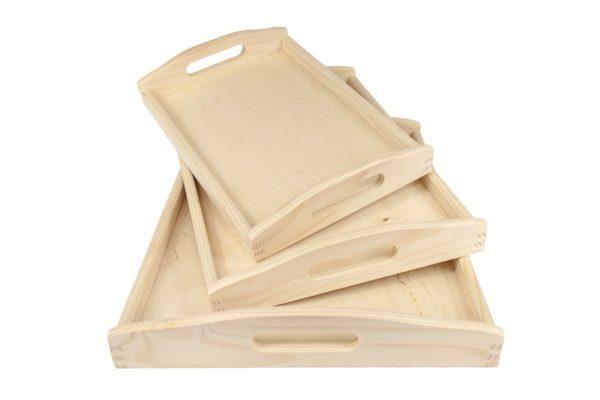 Zestaw 3 drewnianych tac
