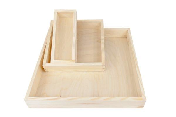 Tace, pojemniki z drewna - 3 szt.