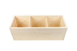 Drewniany pojemnik z 3 komorami