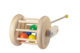 Drewniany pchacz, jeździk - Bęben z kulami