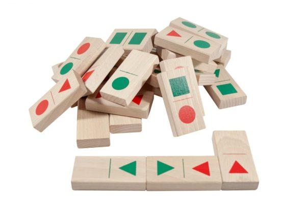 Drewniane domino figury