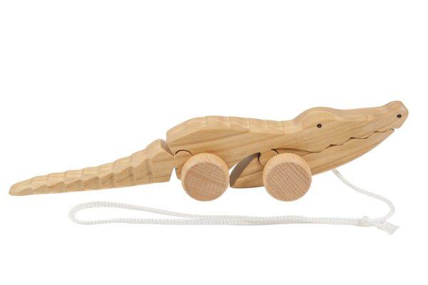Krokodyl z drewna na sznurku