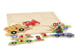 Drewniana układanka edukacyjna - pojazdy