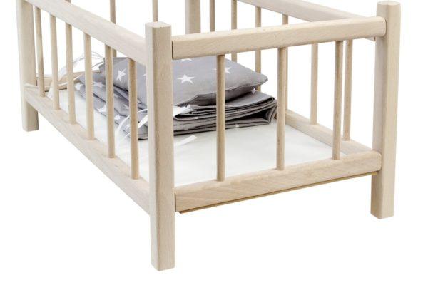 Łóżeczko dla lalek z pościelą szarą w białe gwiazdki