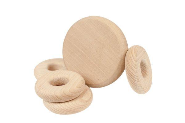 Drewniana układanka z krążkami