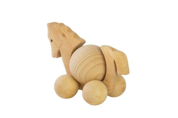 Drewniana figurka, jeździk konik