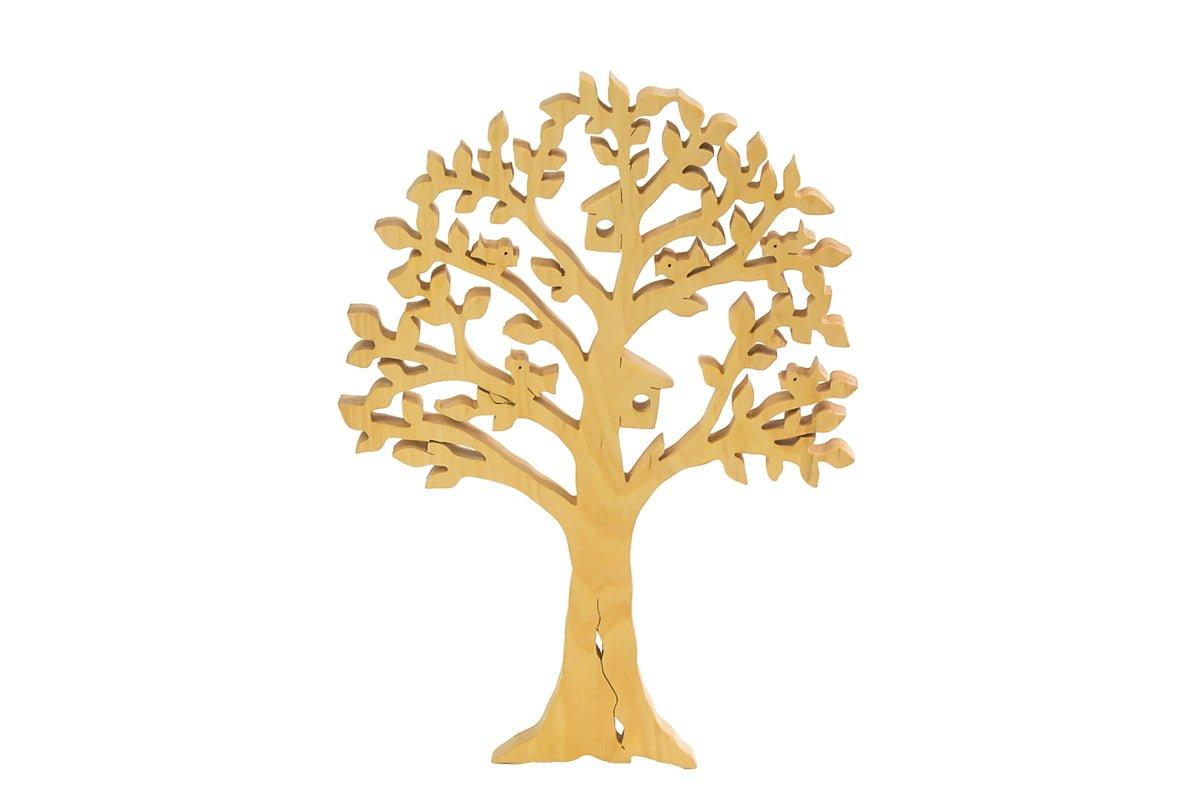 Ozdoba zdrewna - ażurowe drzewko zdomkami dla ptaków