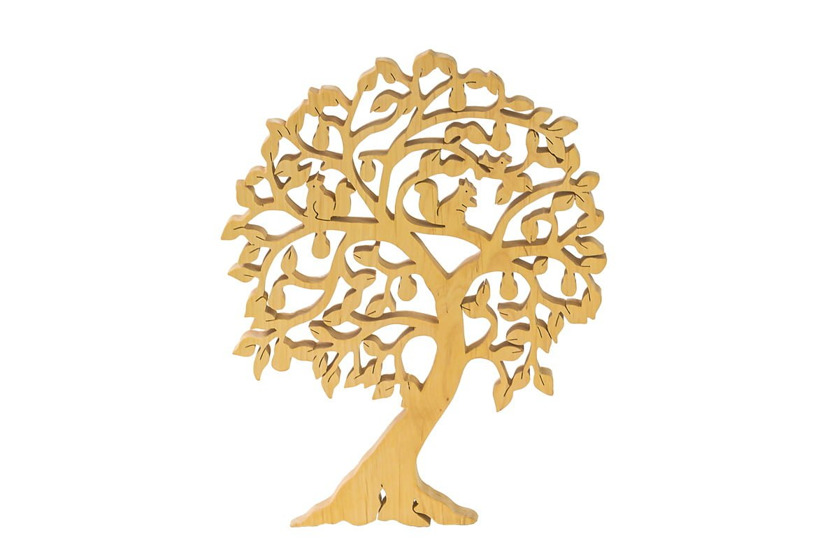 Ozdoba zdrewna - ażurowe drzewko zwiewiórkami