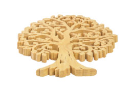 Ozdoba z drewna - ażurowe drzewko z ptakami i wiewiórkami