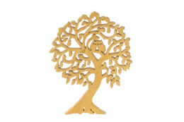 Ozdoba z drewna - ażurowe drzewko z sówkami