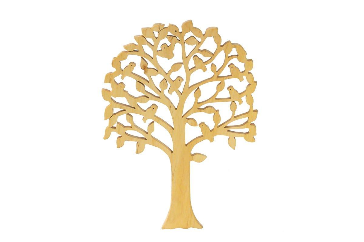 Ozdoba zdrewna - ażurowe drzewko zptakami