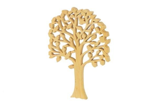 Ozdoba z drewna - ażurowe drzewko z ptakami