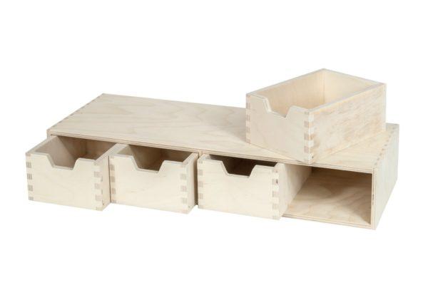 Organizer, komoda z drewna z 4 szufladami