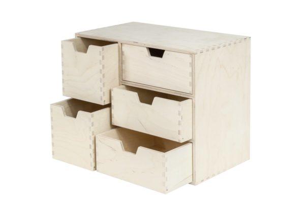 Organizer, komoda z drewna z 5 szufladami