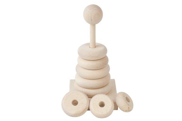 Drewniana nakładanka, piramidka z krążkami