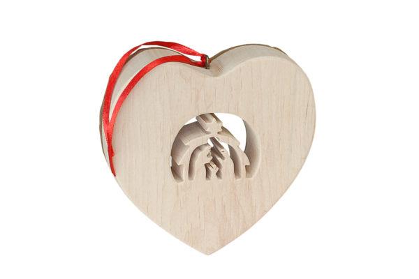Drewniane, ozdobne serce ze stajenką bożonarodzeniową