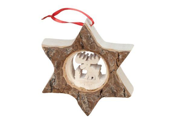 Drewniana gwiazda, oryginalna bombka na choinkę bożonarodzeniową