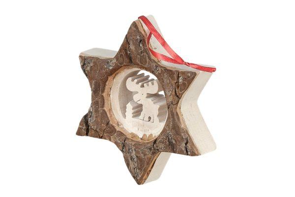 Ozdobna gwiazda z drewna - renifer