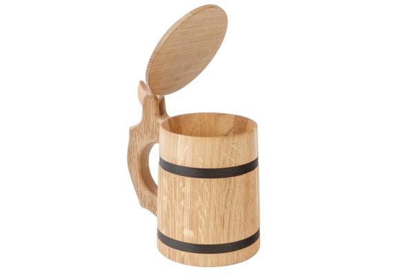 Drewniany kufel z deklem