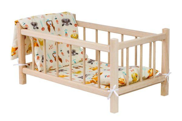 Drewniane łóżeczko dla lalek z kompletem pościeli