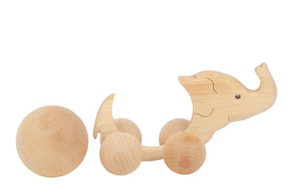 Słoń - drewniany jeździk z ruchomą kulą