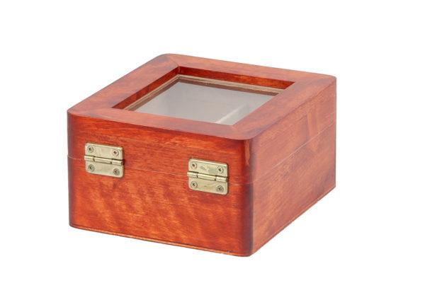 Ozdobne pudełko, herbaciarka z drewna z oknem