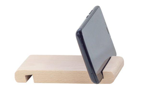 Drewniana podstawka pod telefon, tablet