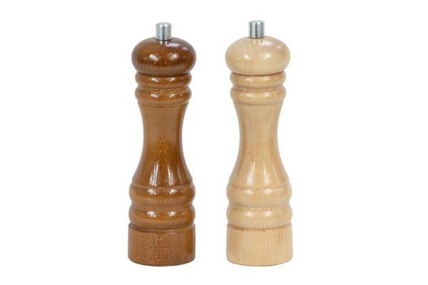 Zestaw dwóch drewnianych młynków ręcznych
