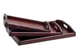 Komplet 3 drewnianych tac - lakierowane