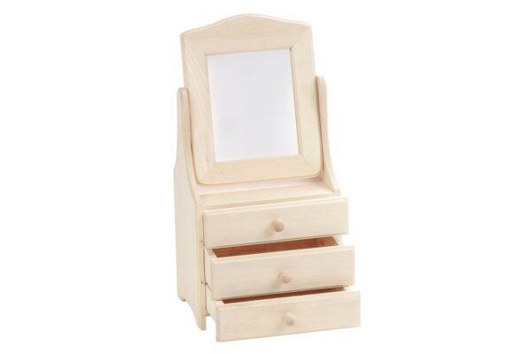 Drewniana szkatułka na biżuterię, toaletka z ruchomym lustrem