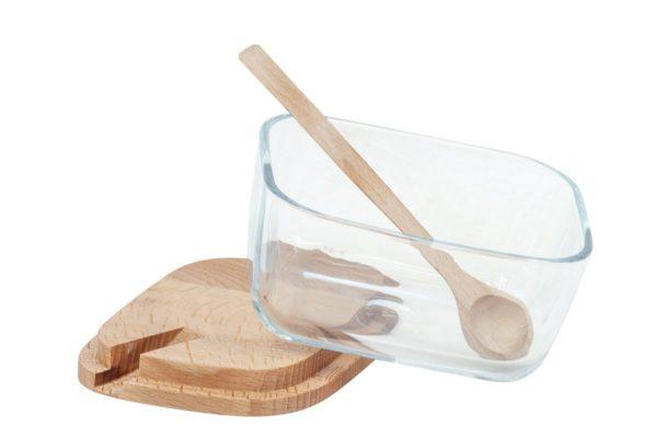 Cukiernica szklana z drewnianym deklem i łyżeczką