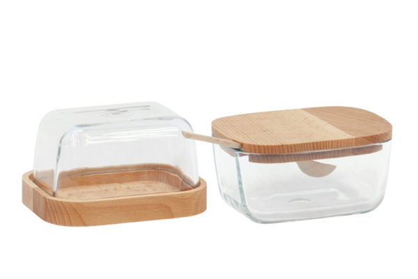 Cukiernica i maselniczka - ze szkła i drewna