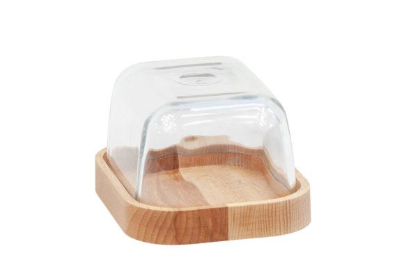 Maselniczka szklana z drewnianą podstawą