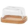 Maselniczka szklana zdrewnianą podstawą