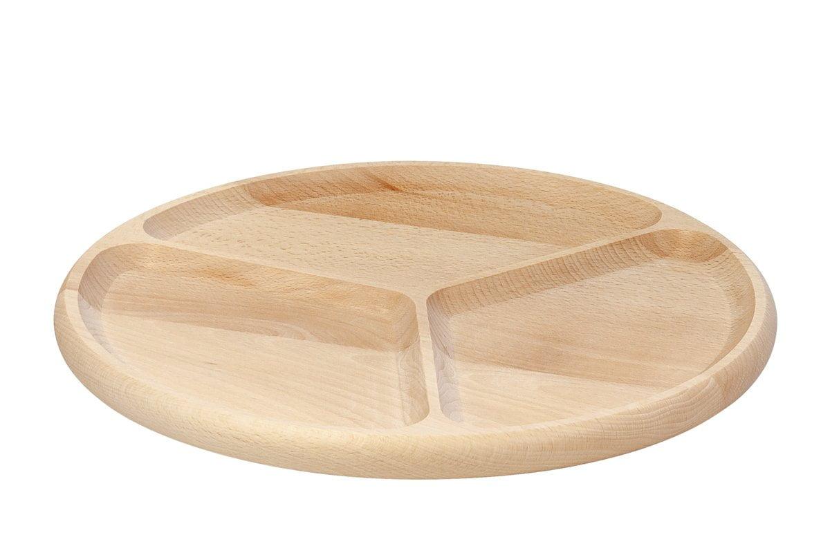 Drewniany półmisek, talerz dzielony na3 części