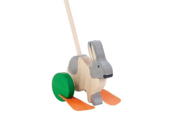 Drewniany jeździk, pchacz - Zając