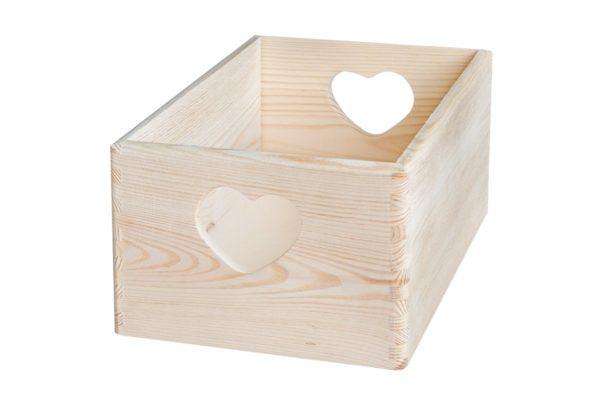 Drewniana skrzynka 30/20/14 cm - serca